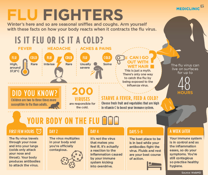 flu vs cold infographic